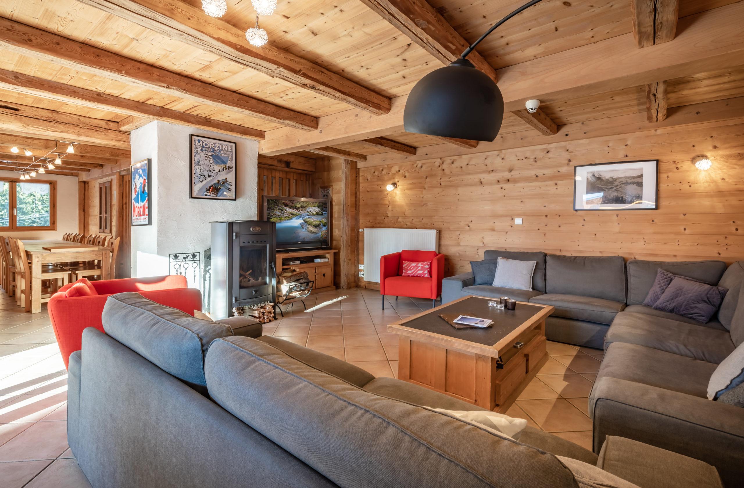 Atelier large open plan lounge and log burner