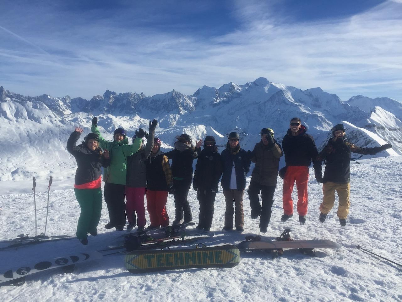 Group ski holidays in the Alp, jump for joy!