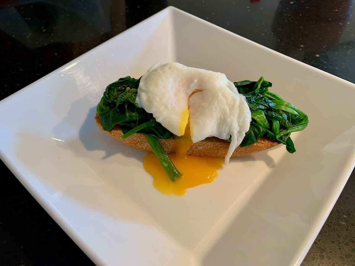 Poached eggs and spinach from Morzine