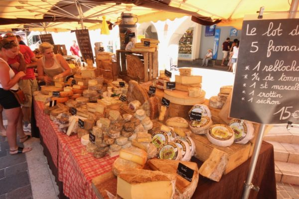 Cheese stall at an Alpine French Market