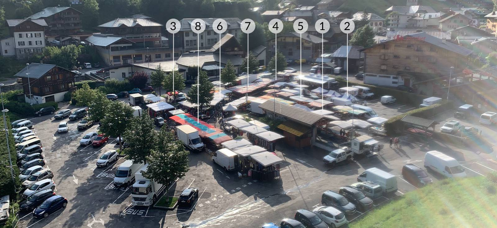 Morzine market labelled with our favourite stalls
