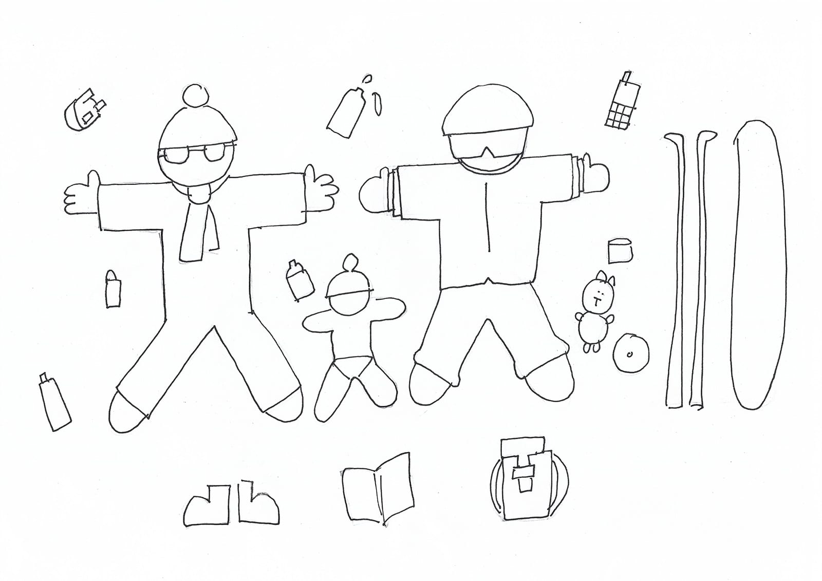 Illustration of packing essentials for a ski packing list